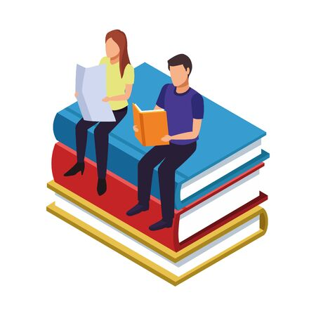 people reading sitting on stack of books over white background, vector illustration