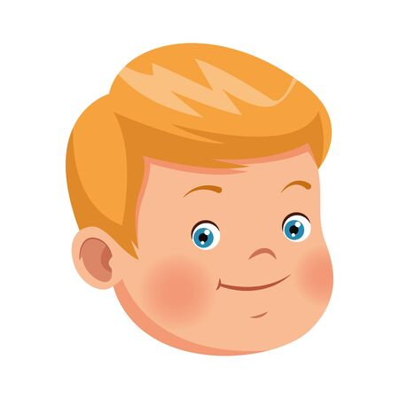 cartoon boy face icon over white background, vector illustration