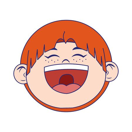 cartoon boy laughing icon over white background, vector illustration Çizim
