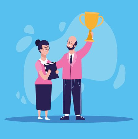 cartoon businessman holding a trophy cup and woman standing over blue background, colorful design, vector illustration Banque d'images - 140637494