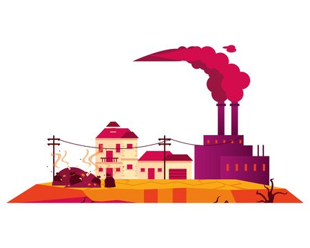 factory with polluting chimneys and houses vector illustration design
