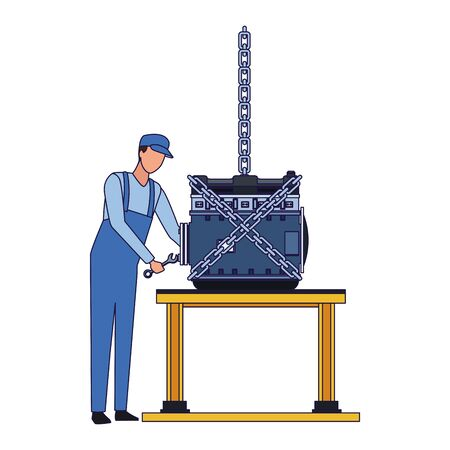 mechanic standing fixing a car engine on a table over white background, flat design, vector illustration