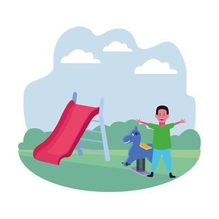 kids zone, funny boy with spring horse and slide playground vector illustration