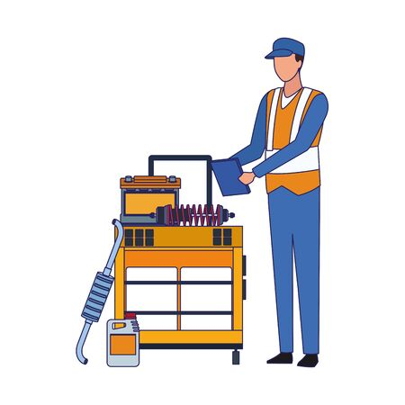 mechanic standing at tools trolley icon over white background, vector illustration