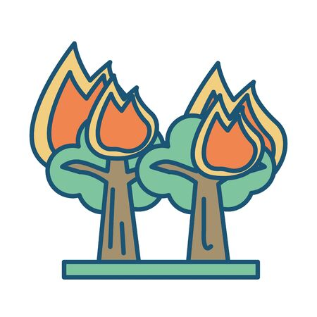 forest fire scene isolated icon vector illustration design
