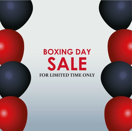 Boxing day sale colorful design with black and red balloons over gray background, vector illustration 일러스트