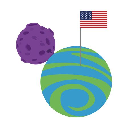 moon and planet with american flag over white background, vector illustration