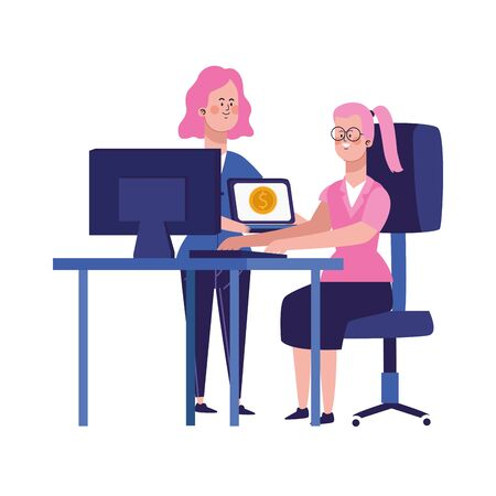 cartoon businesswomen at office desk with computers over white background, vector illustration Banque d'images - 140642377