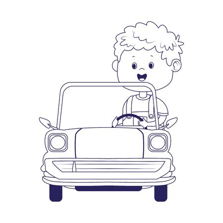 cute boy in classic car over white background, flat design, vector illustration