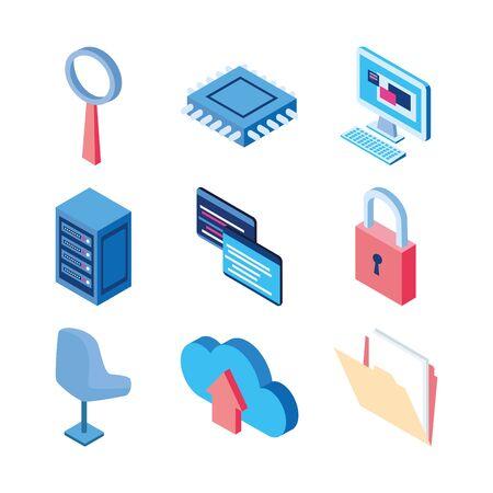 cloud computing data server office computer circuit technology internet set icons vector illustration Banque d'images - 140642389