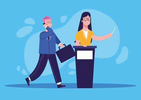cartoon businessman and woman on tribune over blue background, colorful design, vector illustration Banque d'images - 140642450