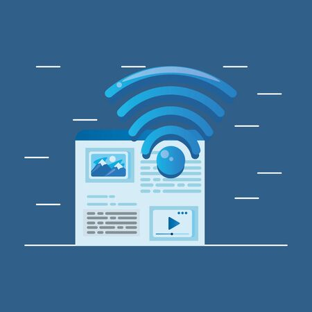 template webpage window with wifi signal vector illustration design