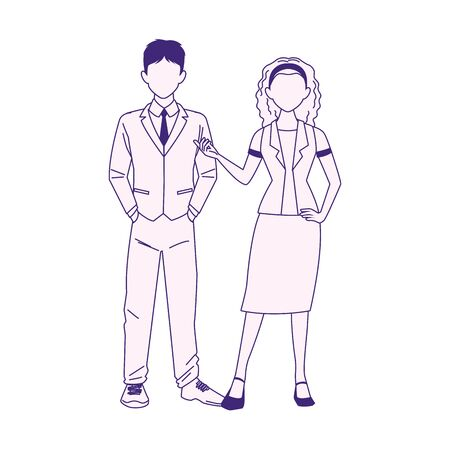cartoon business man and woman icon over white background, flat design, vector illustration Ilustrace