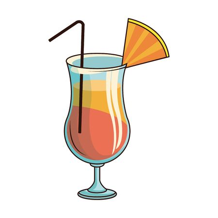 sunrise cocktail drink icon over white background, vector illustration Иллюстрация