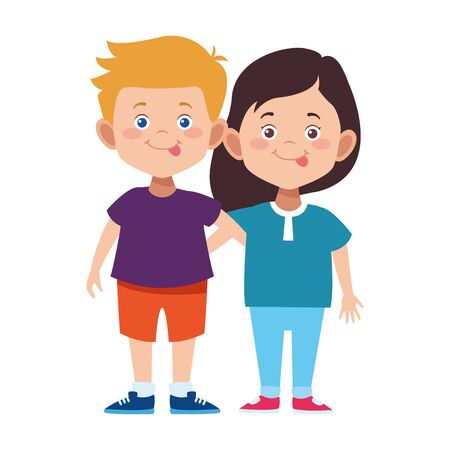 cartoon boy and girl standing icon over white background, vector illustration