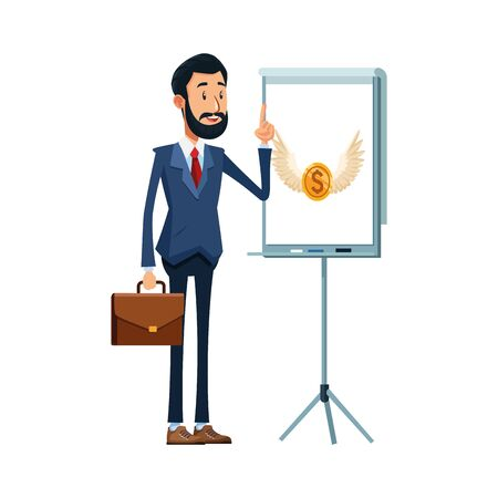 cartoon businessman standing and presentation board with money coin icon over white background, vector illustration Banque d'images - 140643566