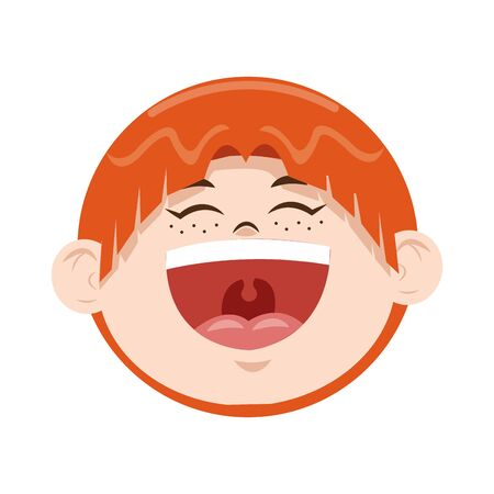 cartoon boy laughing icon over white background, colorful design, vector illustration Çizim