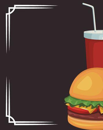 hamburger and soft drink cup over black background, vector illustration