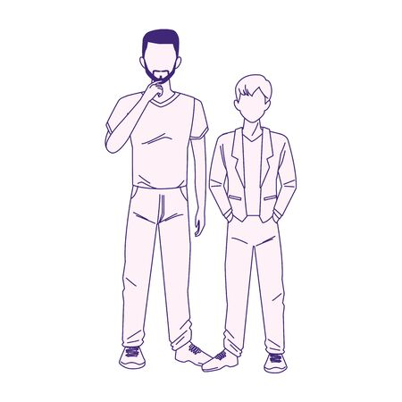 cartoon man with little boy icon over white background, vector illustration Çizim
