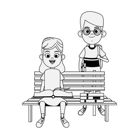 park bench with cute kids with books over white background, vector illustration