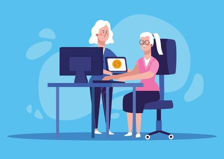 cartoon woman and woman working at office desk with computer over blue background, colorful design, vector illustration Banque d'images - 140644315