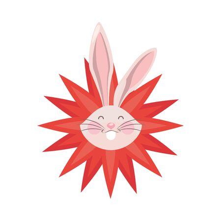 cute rabbit easter with flower petals vector illustration design 向量圖像