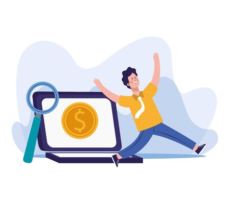 magnifying glass, happy man and laptop computer with money coin icon on screen over white background, vector illustration