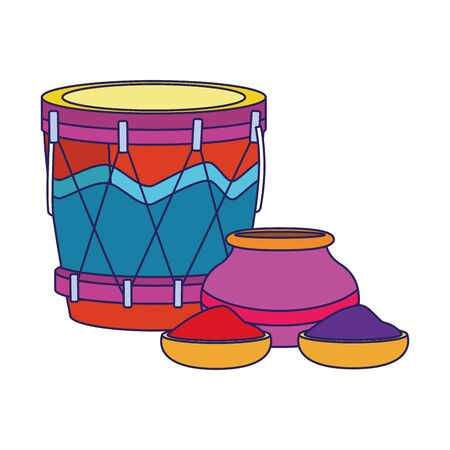 drum instrument and bowl with holi powder over white background, colorful design, vector illustration