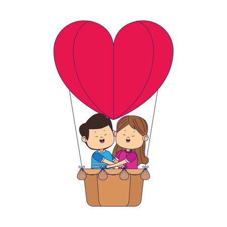 cartoon happy couple in hot air balloon in heart shape over white background, vector illustration