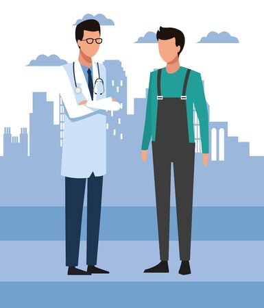 Avatar doctor and man standing over blue city urban background, colorful design, vector illustration