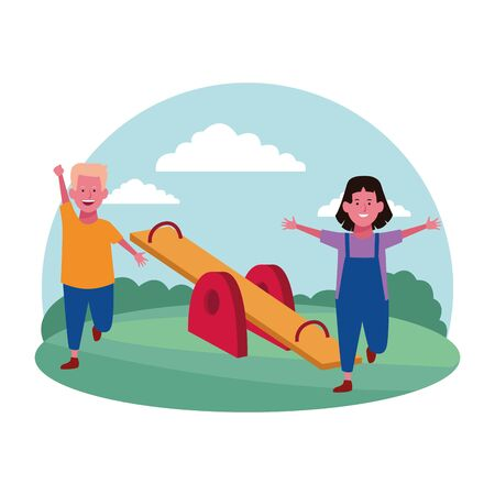 kids zone, cheerful boy and girl with seesaw playground vector illustration Stock Illustratie