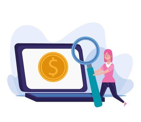 woman with big magnifying glass and laptop computer with money coin over white background, colorful design, vector illustration