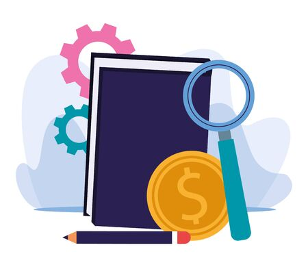 gear wheels, book with magnifying glass and money coin over white background, colorful design, vector illustration