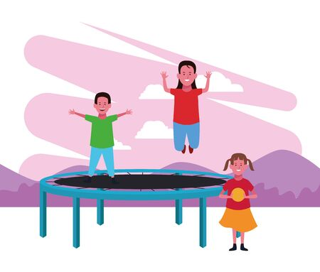 kids zone boy and girl jumping trampoline and girl with ball food booth playground vector illustration Illustration