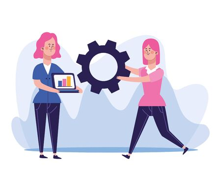 cartoon woman with laptop computer and woman holding a gear wheel over white background, colorful design, vector illustration Banque d'images - 140645165