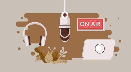 radio microphone retro with earphones vector illustration design
