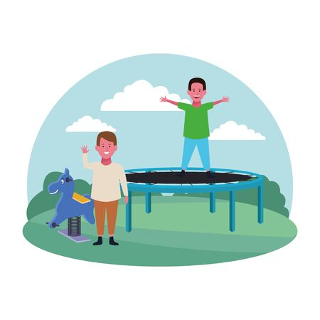kids zone, cute boys jumping trampoline and spring horse playground vector illustration Stock Illustratie