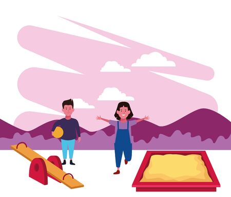 kids zone, boy and girl playing sanbox seesaw and ball playground vector illustration