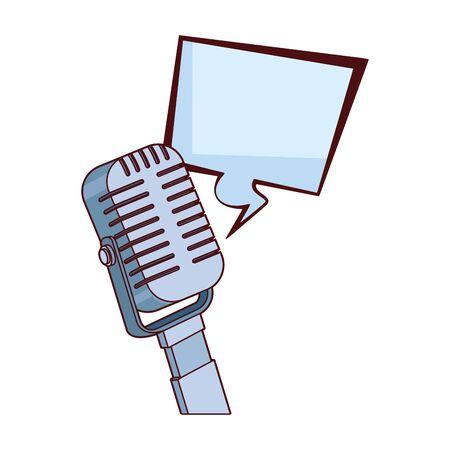 retro microphone and square bubble icon over white background, colorful design, vector illustration
