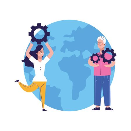 earth planet and man and woman with gear wheels over white background, colorful design, vector illustration Ilustracja
