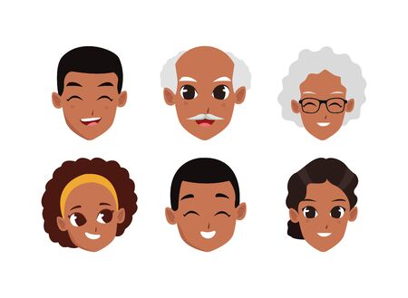 cartoon adult and old people faces icon set over white background, vector illustration