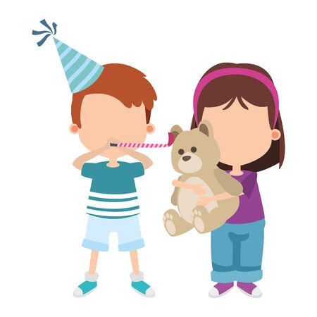 cartoon happy boy with party hat and girl with teddy bear over white background, vector illustration