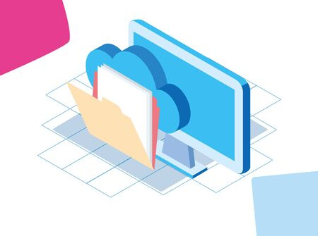 big data colorful design with computer and folder over white background, vector illustration