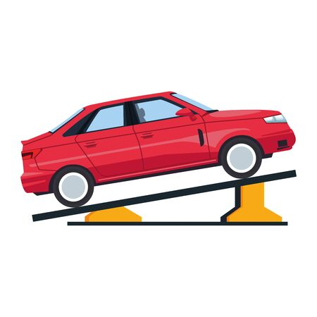 car repair design of elevated car in a lifting icon over white background, colorful design, vector illustration