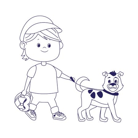 cartoon happy boy walking with cute dog over white background, flat design, vector illustration