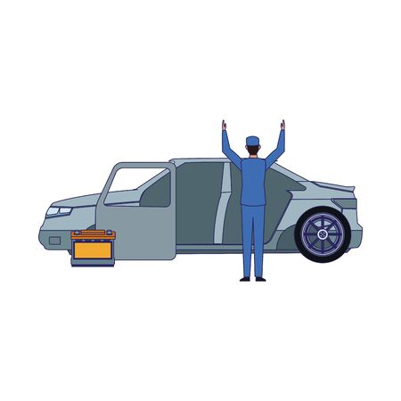 Car mechanic standing and car body and battery over white background, vector illustration Ilustracja