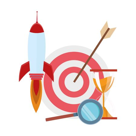 target with rocket and hourglass over white background, colorful design, vector illustration Ilustrace