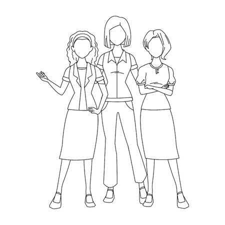cool women standing icon over white background, vector illustration