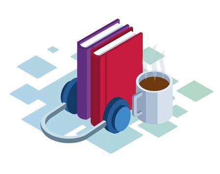 headphones, books and coffee mug over white background, colorful isometric design, vector illustration