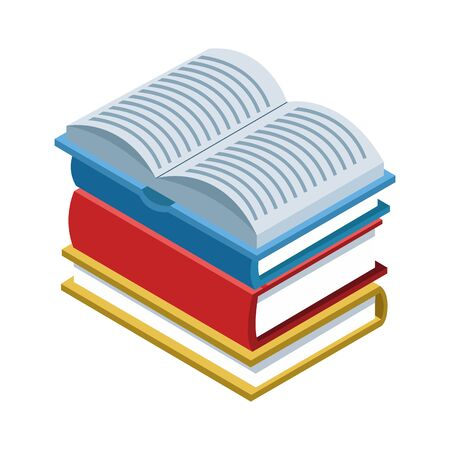 stack of academic books over white background, vector illustration Illustration